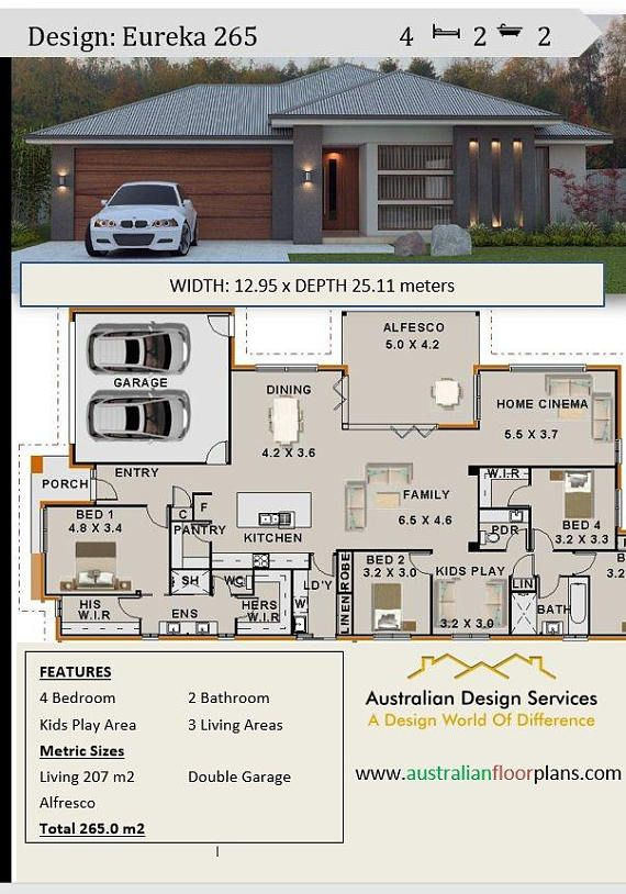 New Modern Home Plan 267 5 M2 Or 2873 Sq Feet 4 Bedroom Home Cinema Kids Play Room Concept House Plans For Sale House Plans Australia House Plans For Sale Best House Plans