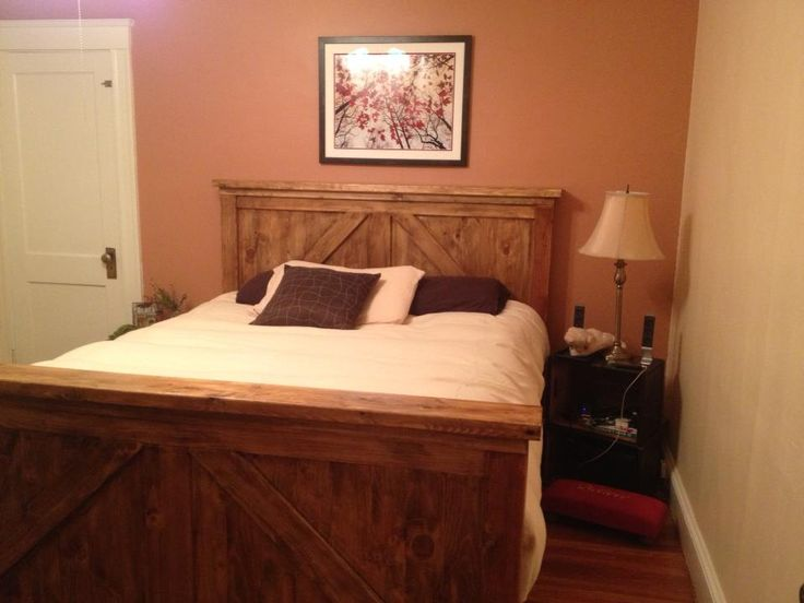 queen bed frame combo farmhousebrookstone with pecanexpresso stain do it yourself - White Queen Bed Frame