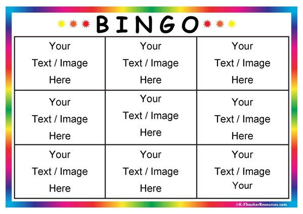 Editable Bingo Card Templates