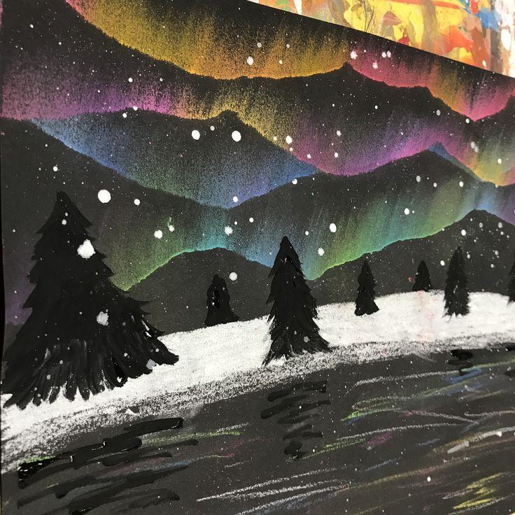 4th grade art, 4th grade winter art, 4th grade northern lights, 5th grade art, 5th grade northern lights, elementary art, winter art, elementary winter art project, northern lights, Aurora Borealis
