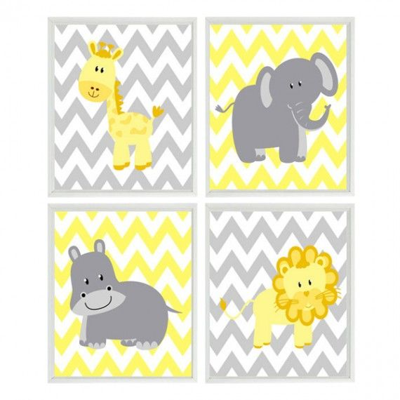 Chevron Safari Wall Art Prints for Babies Room