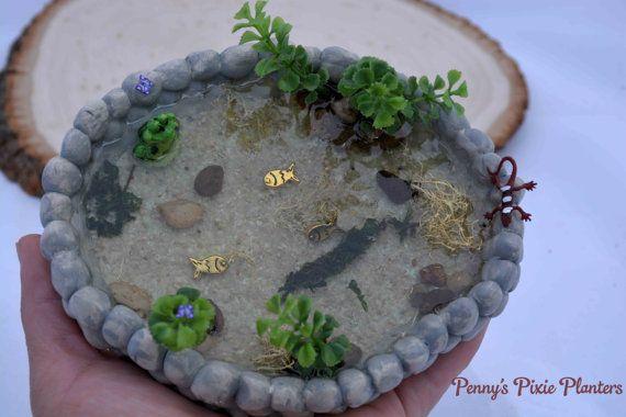 Estanque de miniatura hadas jardín estanque peces miniatura