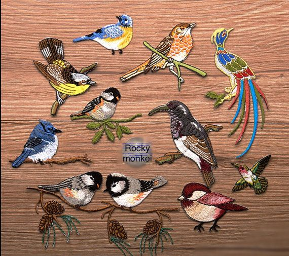 Set of 11 Pcs Birds patch Embroidered patch Iron on patch sew on patch Applique