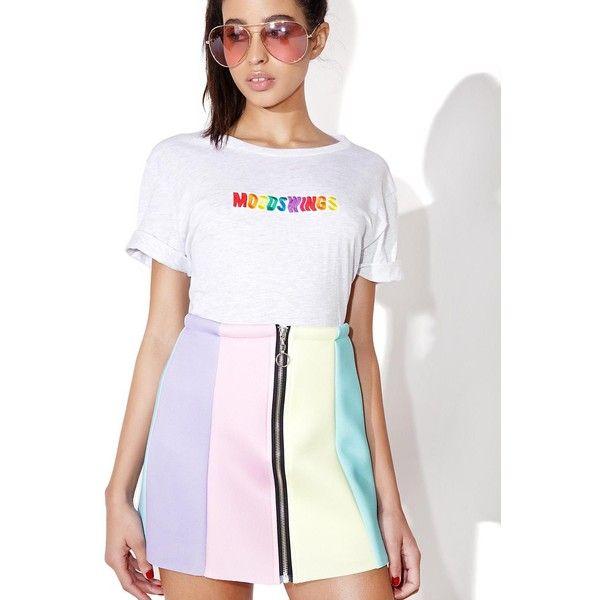 Local Heroes Rainbow Neoprene Skirt ($80) ❤ liked on Polyvore featuring skirts, mini skirts, white skirt, mini skirt, a-line skirts, a line mini skirt and white mini skirt