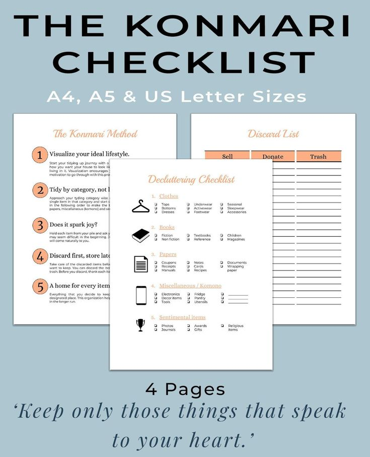 Konmari Method Printable Workbook Declutter Printable Spring Cleaning Printable The