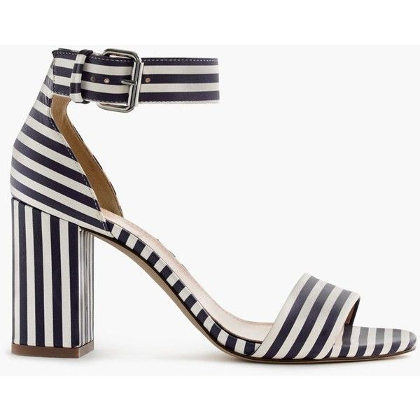 J.Crew Striped Strappy High-Heel Sandals ($350) ❤ liked on Polyvore featuring shoes, sandals, strap shoes, heeled sandals, strappy sandals, j crew shoes e striped shoes