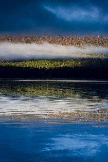 Early morning stillness over Lake McDonald, Glacier National Park, Montana
