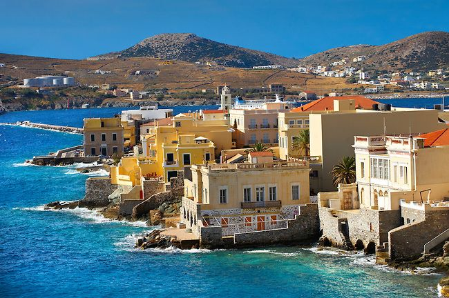 GREECE CHANNEL | Bay and buildings of Ermoupolis, Syros [ ????? ] , Greek Cyclades Islands