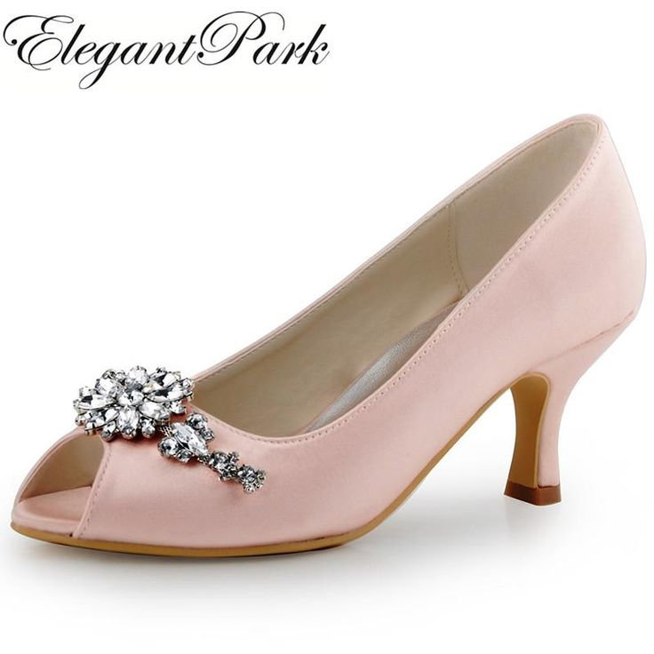 Women Evening Party Mid Heel Pumps Green Peep Toe Clip Buckle Satin Bride Bridesmaids Wedding Bridal Shoes HP1541 Pink Champagne