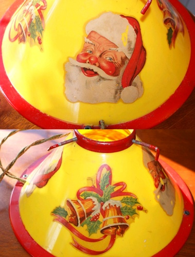 Vintage Christmas Tree Stand ~ Illuminated Noma Santa & Bells * Circa,  early 1950's