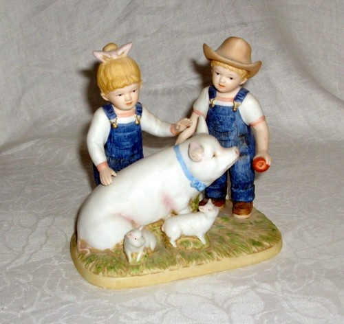 Vtg Homco 1985 Porcelain Figurine Denim Days Prize Pig