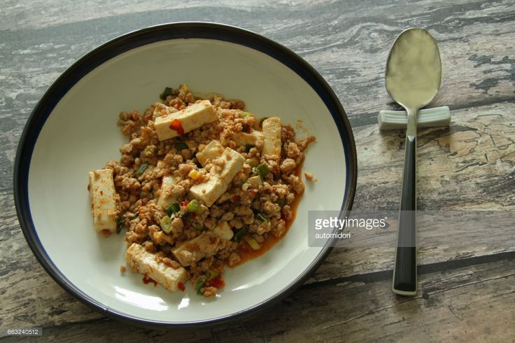 Mapo (or Mabo) Tofu with main flavors coming from Hokkaido miso and Chinese chili bean paste.