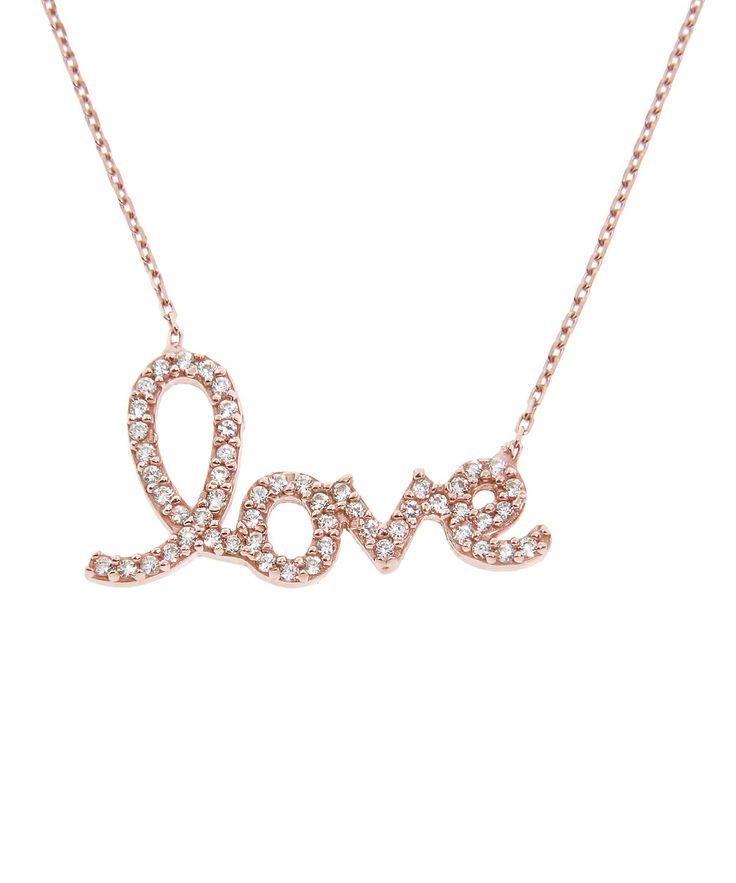 Rose Gold & Sparkle Cursive 'Love' Pendant Necklace