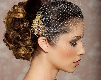 birdcage veil with gold broach fastener would like it with gold mesh maybe bridal accessoriesgold hair