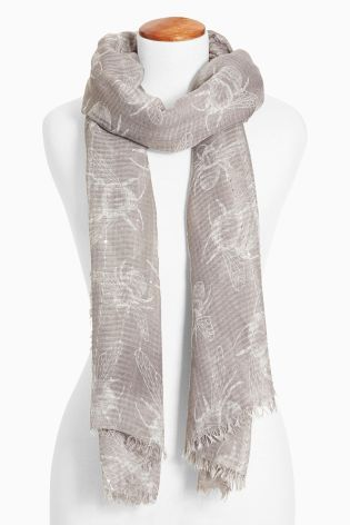 Buy Grey Bee Print Scarf from the Next UK online shop