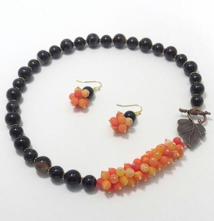 Natural stones jewellery set-necklace and earrings .Natural Stones. Jewellery set. Quartz .Agate by BeadsAndSilkHarmony on Etsy