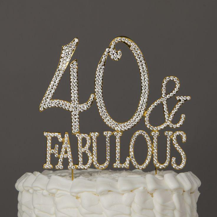 40 & Fabulous Gold Rhinestone Cake Topper - 50th Birthday Decoration This…