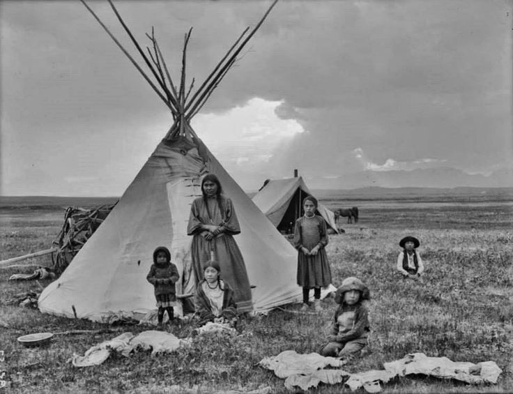 Early 1900s Photo of a Blackfoot Indian Family and Tipi in Montana