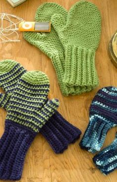 Crochet Mittens for All - Pretty simple to do once you're confident with the directions.  It takes 1-2 days to make a pair of children's mittens.  Warm, comfortable, my kids love them, and they look sturdy.  They also like the long cuffs to keep their wrists warm.