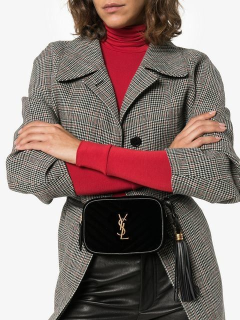 3ebc1fef2 Saint Laurent Black Front Logo Belt Bag in 2019 | Bags | Black, Leather, Saint  laurent