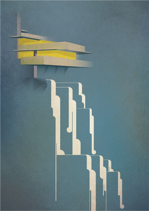 Alan Nagle - Drawing of Falling Water by Frank Lloyd Wright. I like how the image is reduced to its essentials and yet it's still clear exactly what it is!