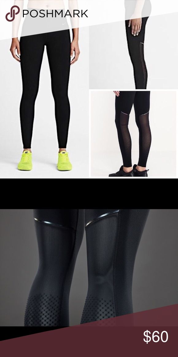 Nike Sculpt Cool Training Tights The Nike Sculpt Cool Women's Training Tights hug your legs from hip to hem and feature breathable mesh panels for unbeatable comfort and support.  Strategic compression through the waistband, inner thighs and calves provides exceptional support and a flattering fit. The high-rise waistband is higher in the back for comfortable coverage and a locked-in feel as you bend and stretch. Interior waistband pocket. Size medium but runs small. Measurements and photos…