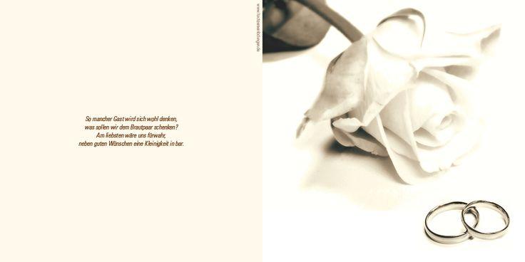 Ansicht Seite 4 und 1 der Hochzeitskarten. Die weiße Rose und die Eheringe zieht sich durch alle Drucksorten.
