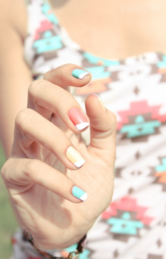 Summer nails! Recreate this look using Jessica shades Surfer Boyz n' Berry, Banana Peel and Strawberry Shake It with a Chalk White tip.