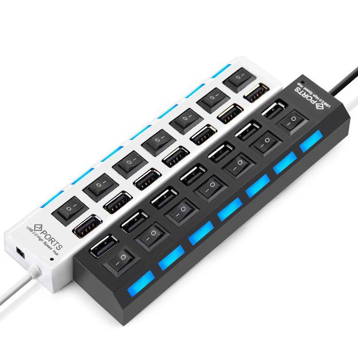 7 Ports High Speed USB Hub 480 Mbps USB 2.0 Hub On/Off Switch Hub USB Splitter For PC Laptop Computer Peripherals Accessories