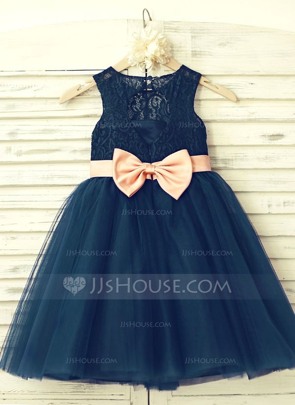 01674d8c6 A-Line/Princess Knee-length Flower Girl Dress - Tulle/Lace Sleeveless Scoop  Neck With Bow(s)/Back Hole