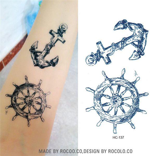 HC1137 Waterproof Temporary Tattoo Sticker Viking Sailor Cultural Anchor Rudder Design Flash Tattoo Body Art Fake Tattoo Sticker #Affiliate