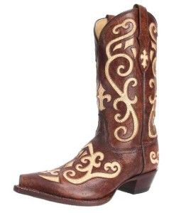 Low heel trendy designer earth with creme inlay tony lama western boots for women 2014 - 2015