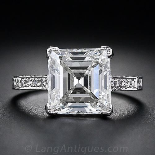 3.46 cts Edwardian diamond ring, circa 1910, gleams with a gorgeous square step-cut, or Carré cut (an emerald-cut, diamond without cut corners).