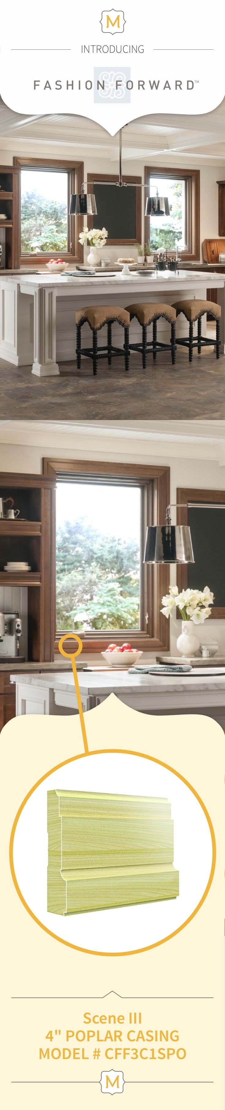 Metrie's Fashion Forward Collection trim elements are used in this classic kitchen to create a clean, timeless window frame (and we're loving it).