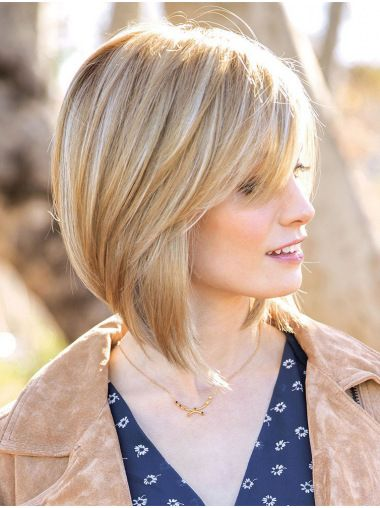 12″ Chin Length Blonde Straight Affordable Bob Wigs