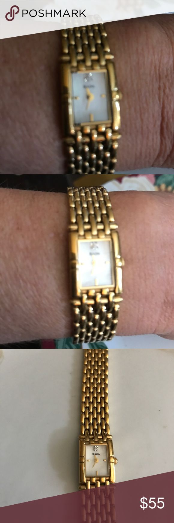 """Vintage Ladies Bulova  Watch gold plate diamond Ladies vintage Bulova watch, gold plated, diamond chip, new battery, jeweler checked. Works perfectly. Price firm unless bundled. 7 1/4"""" in length, non adjustable and 1/2"""" in width. Bulova Accessories Watches"""