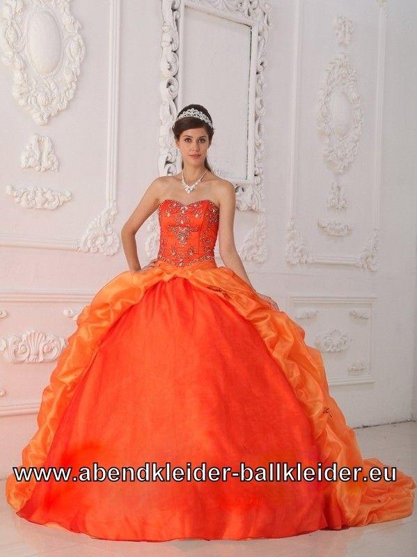 Orangenes Abendkleid Ballkleid Brautkleid mit Schleppe
