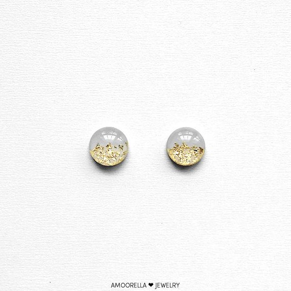 PALOMA GRAY & Gold Leaf Round Stud Earrings Circle Floral Bridal Jewelry Bridesmaid Gift Present Glass Like Resin Elegant Gift