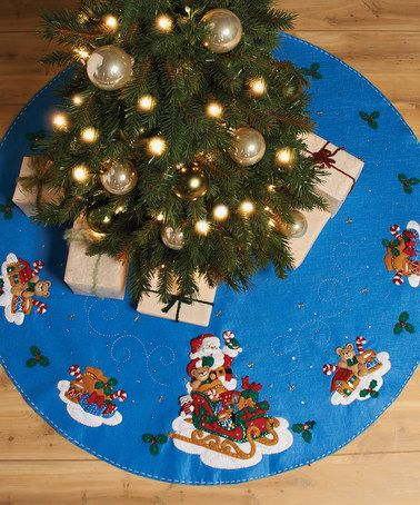 Take a look at this Santa & Sleigh Tree Skirt Kit by Bucilla on #zulily today!