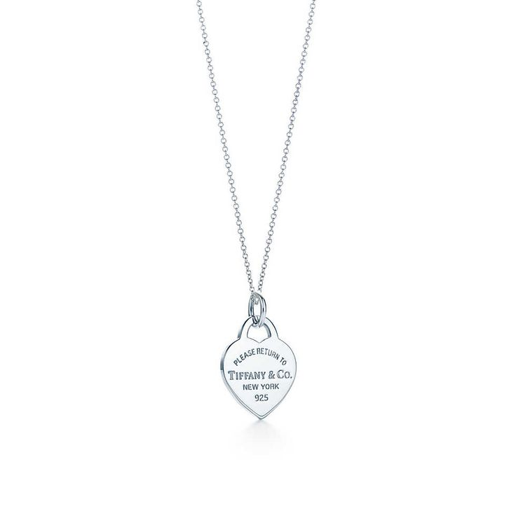 Return to Tiffany™ Herzmarken-Charm, Sterlingsilber, Small. Mit Kette. | Tiffany & Co. !!! Anhänger: small Kette: 36 IN !!!