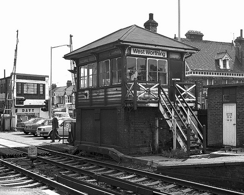 West Worthing signal box located at the Brighton end of the Havant bound (down direction) platform of West Worthing station by South Street level crossing. Thursday 14th May 1987