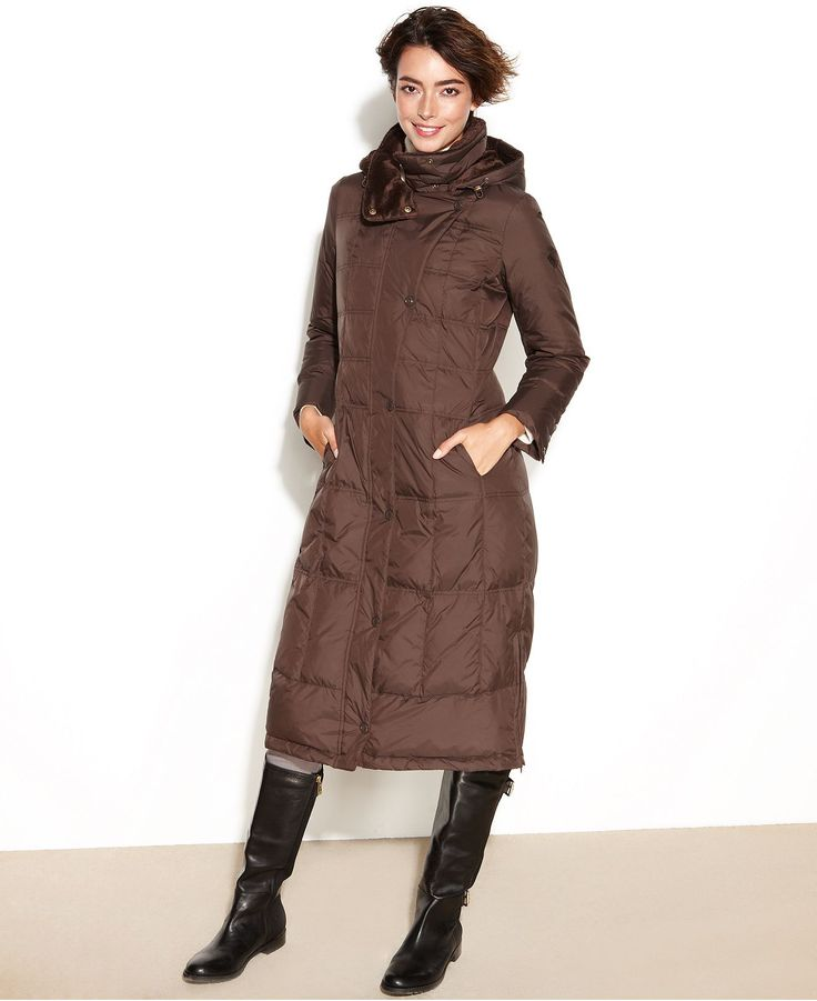 Larry Levine Coat Hooded Quilted Maxi Puffer Coats