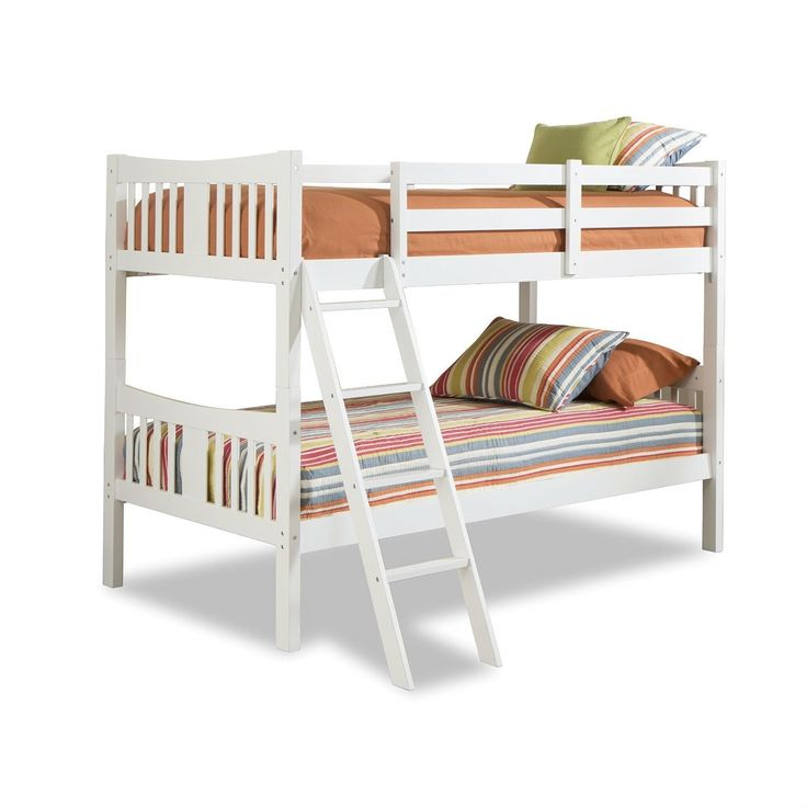 Twin over Twin size Solid Wood Bunk Bed Frame in White Finish