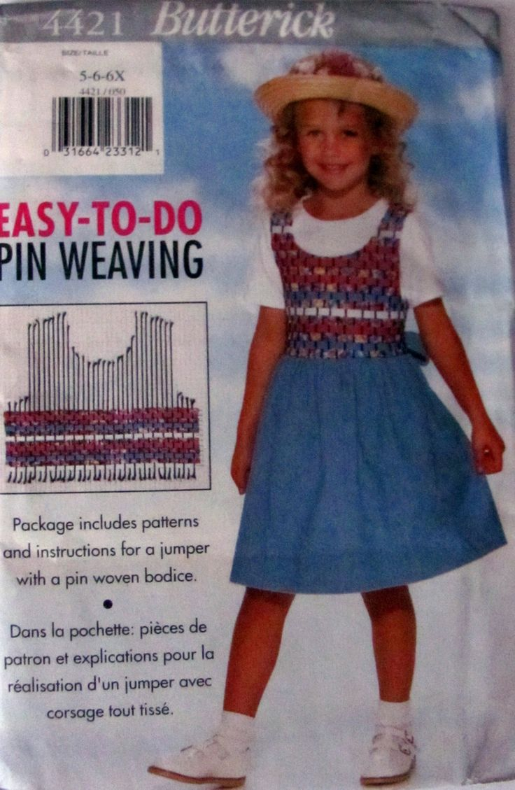 Butterick 4421, Girl's Pin Weave Jumper Sizes 5, 6, 6X Uncut , Easy to Do Pin Weave Bodice, Pattern For Pin Weave Included by OnceUponAnHeirloom on Etsy