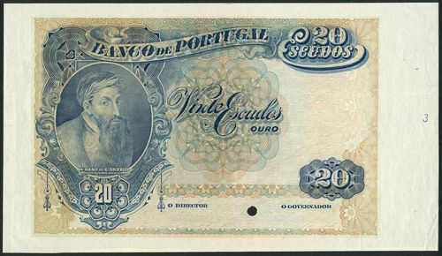 (†) Banco de Portugal, specimen proof 20 Escudos, ND (ca 1919), no serial numbers, no signature, blue, brown and green, portrait of Don Joao de Castro at left, value in three corners, reverse purple on blue, pink and yellow underprint, Sintra National Palace at centre, coat of arms and value in ornate guilloches at right, one punch hole