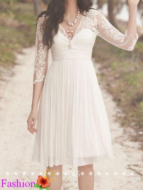 Short Lace Wedding Dress Ivory Wedding Dress by FashionStreets, $229.99