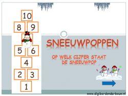 Sneeuwpoppen: op wel cijfer staat de sneeuwpop. Cijfers van één tot en met tien op digibordonderbouw.nl