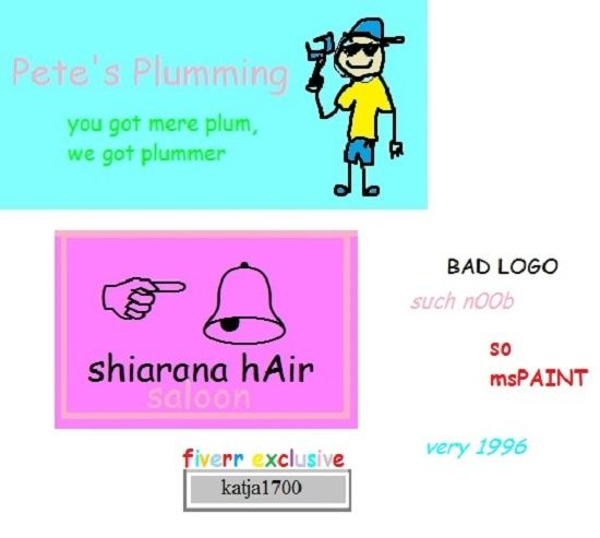 90s geocities site Nostalgia, you can have unique logos, banners and cards designed BADLY at fiverr: https://www.fiverr.com/katja1700/make-awesome-bad-cheap-logo-or-banner