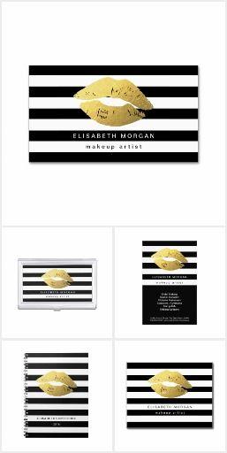 Modern Black and Gold Lips Makeup Artist Set