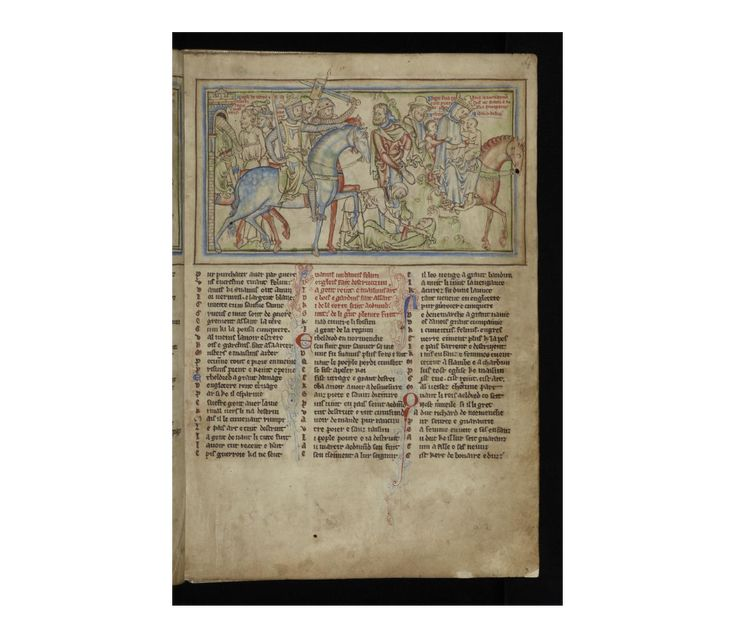 Life of St Edward the Confessor (MS Ee.3.59)  King Sweyn's oppressions. The flight of Queen Emma (c.985-1052) to Normandy with her two young sons, Edward the Confessor (c.1003-1066) & Alfred Aetheling (c.1005-1036)